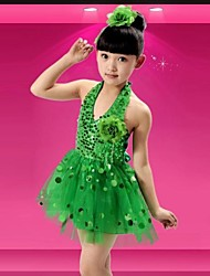 Kids' Dancewear Latin Dance Sequins Dress Without Headpieces(Blue/Fuchsia/Green/White/Yellow/Red) Kids Dance Costumes