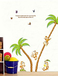Environmental Removable Coconut Palm Tree And Monkey PVC Wall Sticker