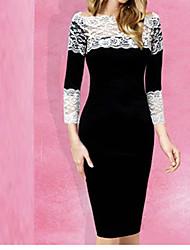 Women's Newest Lace Splice Half Sleeve Dress