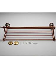 Rose Gold Solid Brass  Bathroom Shelf With Towel Bar