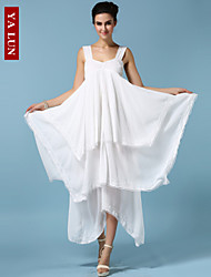Yalun™ High Quality Women's Irregular Hem White Dress