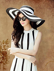 Black And White Keys Straw Ladies Big brim Cap Outdoor/Cas Straw Hat