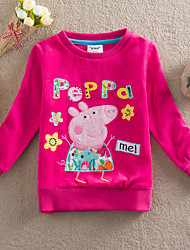 Girl's Spring Cartoon Fashion Long Sleeve Tees (Cotton)