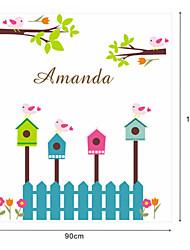 birdcage de dibujos animados pegatinas de pared de pvc valla