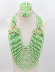 Fashion Mint Green African Wedding Crystal Beads Jewelry Set Nigerian Bridal Costume Gift Beads Set