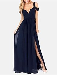 Women's Solid Blue/Red Dress,Maxi Deep V/Strap Sleeveless
