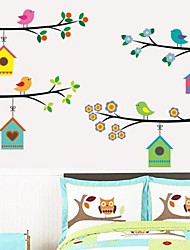 Wall Stickers Wall Decals Birds Houses Feature Removable Washable PVC