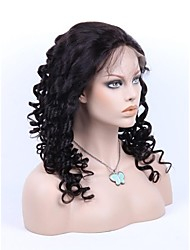 18inch Loose Wave Curl Brazilian Remy Hair Fashion Full Lace Wig Natural Hairline
