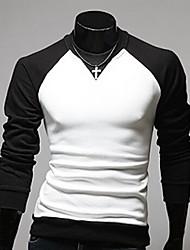 moda causal t-shirt de manga comprida masculina Bigman
