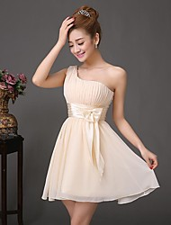 Wedding Party Dress - As Picture A-line One Shoulder Short/Mini Chiffon