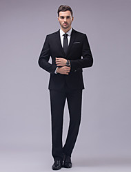 Suits Tailored Fit Slim Notch Two-Button Cotton/Polyester Solid 2 Pieces Black