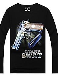 T-shirt ( Nero , Cotone/Lycra/Spandez ) - MEN - Maniche lunghe - da Casual/Lavoro/Sport/Taglie forti - Stampa