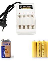 cargador de batería ajustado = 4 * batería ni-cd aa 700mah 1.2v recargable + 1 * batería de 9V + AA / AAA cargador bateador no recargable