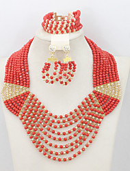African Bridal Jewelry Necklace Bracelet Earrings Set Fashion Beads Crystal Jewelry Set