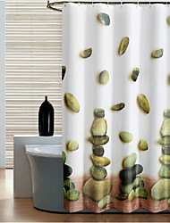 Lucky Stone Waterproof Thicken Fabric Shower Curtain