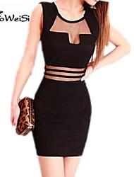 NUO WEI SI® Women's Sleeveless Mesh Cut Out Slim Dresses