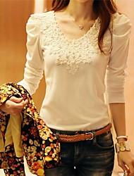Women's Lace Inelastic Long Sleeve Regular T-shirt (Lace)