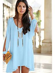 Mignon Women's New Fashion Chiffon Causal Loose V-neck Irregular Long Sleeve Dress