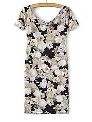 Women's Print Multi-color Dress , Print Cowl Short Sleeve