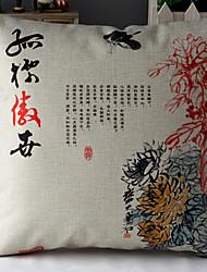 crisantemo pintura china estampado de algodón / lino funda de almohada decorativa
