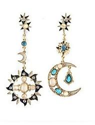 Masoo Women's Asymmetrical Star And Moon Earrings