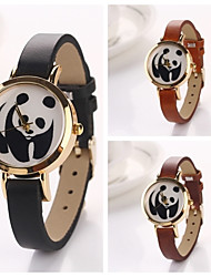 Women's Panda Round  Dial Leather Quartz Wristwatches  (Assorted Color)