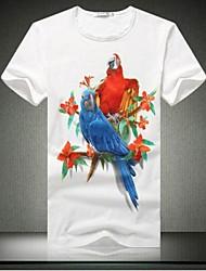 Informeel - Opdruk - Korte Mouw - MEN - Katoen - T-shirts - Zwart/Wit