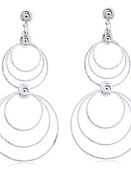 Women's Fashion Wild Plated Rhodium Multiple Circular Enthusiastic Earrings