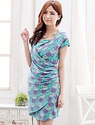 Women's Flower Printed European Maternity Dress Nursing Breastfeeding Clothes