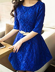 Women's Casual Inelastic ¾ Sleeve Above Knee Dress (Lace)