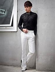Shirts Classic (Semi-Spread) Long Sleeve Cotton/Polyester Solid Black