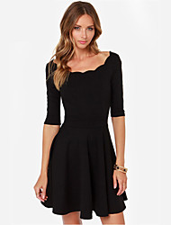Women's Solid Color Red / Black Dresses , Casual Round ½ Length Sleeve