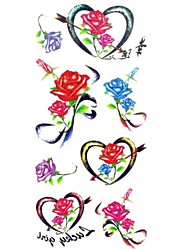 1pc Women's Waterproof Temporary Tattoos leg/Arm/Wrist Tattoos Glitter Heart Rose Body Tattoos(18.5cm*8.5cm)