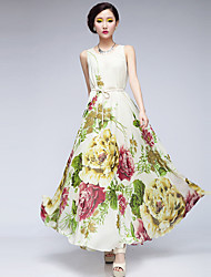 gasa mscoo vestido vestido largo cuello redondo