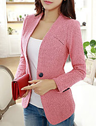 Women's Sexy Work Medium Long Sleeve Regular Blazer (Cotton Spandex)