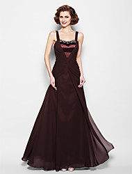 Lanting A-line Plus Sizes / Petite Mother of the Bride Dress - Chocolate Floor-length Sleeveless Chiffon / Satin