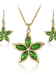 Europa y el americano cinco collar de la aleación de pétalos tipo de flor y los pendientes de la joyería de