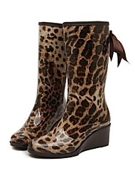 Women's Shoes PVC Wedge Heel Rain Boots Round Toe Mid-Calf Boots Casual More Colors available