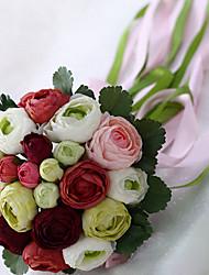 un bouquet de 20 simulation de tissu de soie pivoine bouquet de mariage mariage mariée tenant des fleurs, bordeaux