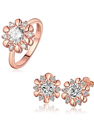 Plated Rose Gold Fashion Jewelry Sets Earrings Ring