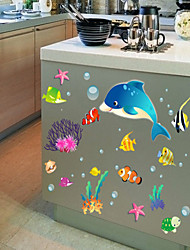 Wall Stickers Wall Decals, Style Cartoon Fish PVC Wall Stickers
