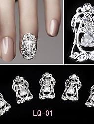 5 Pcs Luxury Hollow Zircon 3D Alloy Nail Jewelry