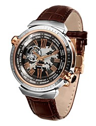 Time100 Men's Fashion Apparent Space Full-Automatical Skeleton Genuine Leather Mechanical Watches (Assorted Colors)