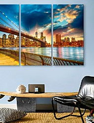 E-HOME® Stretched LED Canvas Print Art City Bridge Flash Effect LED Flashing Optical Fiber Print Set of 3