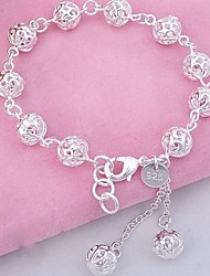Unisex Silver Chain Hollow Ball Bracelet