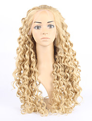 Capless Long Yellow Color Deep Wave Synthetic Wigs