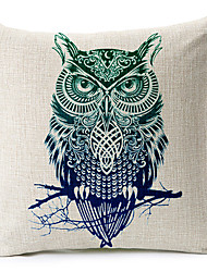 ModeModern Style Owl Patterned Cotton/Linen Decorative Pillow Cover