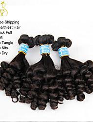 "3 Pcs Lot 10""-22"" Unprocessed Peruvian Virgin Aunty Funmi Hair Bouncy Spiral Curls Natural Black Remy Human Hair Weaves"