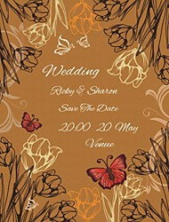 Personalized 50pcs/Lot 12.5cm x 15cm Wedding Invitations Red Butterfly Figure Flower  Save The Date Paper Card