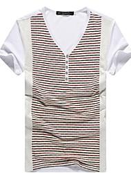toevallige gestreepte korte mouw regelmatige t-shirts voor mannen (katoen blends)